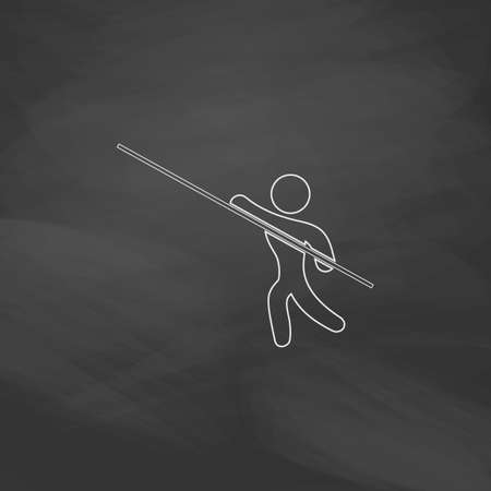 pole vault: Pole vault Simple line vector button. Imitation draw with white chalk on blackboard. Flat Pictogram and School board background. Outine illustration icon