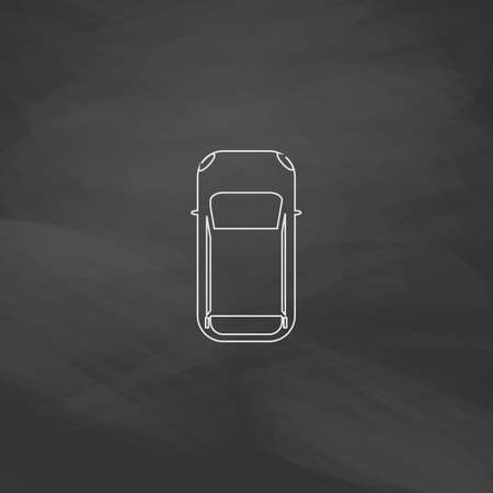 cabrio: top view car Simple line vector button. Imitation draw with white chalk on blackboard. Flat Pictogram and School board background. Outine illustration icon