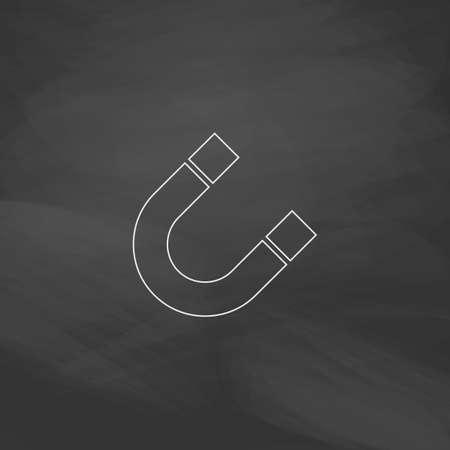 magnetismo: magnetismo pulsante di linea semplice vettore. Imitazione disegnare con il gesso bianco sulla lavagna. Pittogramma di appartamenti e scuola board background. Outine illustrazione icona Vettoriali