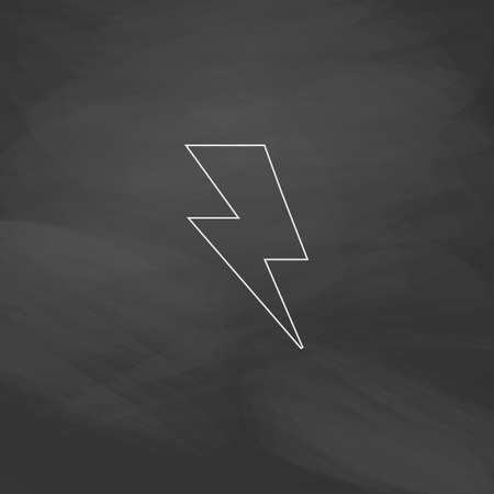 lighting button: lighting bolt Simple line vector button. Imitation draw with white chalk on blackboard. Flat Pictogram and School board background. Outine illustration icon