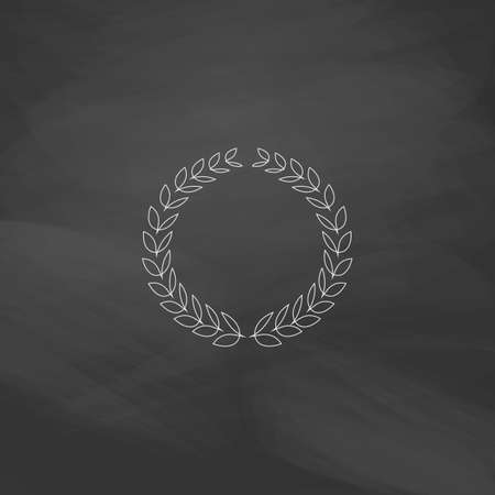 laureate: triumph wreath Simple line vector button. Imitation draw with white chalk on blackboard. Flat Pictogram and School board background. Outine illustration icon
