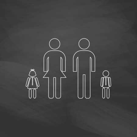 homosexual couple: Happy Family Simple line vector button. Imitation draw with white chalk on blackboard. Flat Pictogram and School board background. Outine illustration icon Illustration