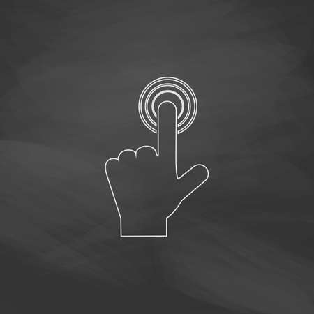 hand click Simple line vector button. Imitation draw with white chalk on blackboard. Flat Pictogram and School board background. Outine illustration icon Illustration