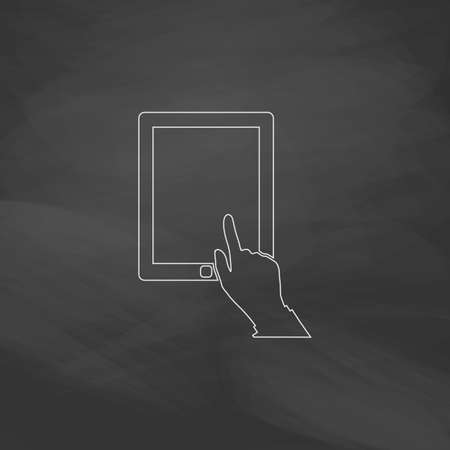pictogrammes: click tablet Simple line vector button. Imitation draw with white chalk on blackboard. Flat Pictogram and School board background. Outine illustration icon