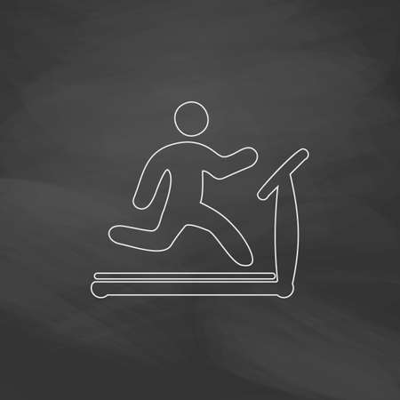 gymnasium: Treadmill Simple line vector button. Imitation draw with white chalk on blackboard. Flat Pictogram and School board background. Outine illustration icon Illustration
