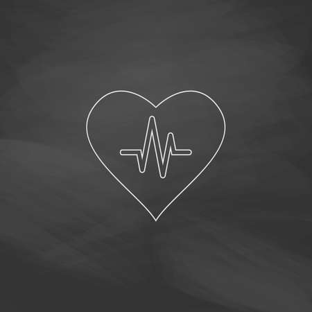 electrocardiograph: Life line Simple line vector button. Imitation draw with white chalk on blackboard. Flat Pictogram and School board background. Outine illustration icon Illustration