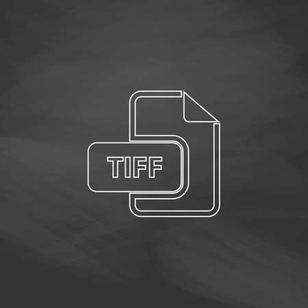 tiff: TIFF Simple line vector button. Imitation draw with white chalk on blackboard. Flat Pictogram and School board background. Outine illustration icon