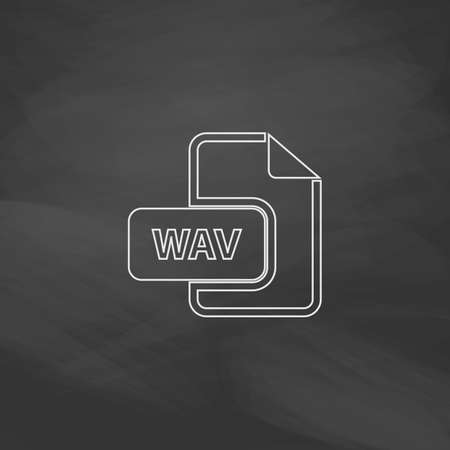 wav: WAV Simple line vector button. Imitation draw with white chalk on blackboard. Flat Pictogram and School board background. Outine illustration icon