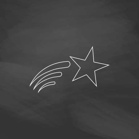 Meteor Simple line vector button. Imitation draw with white chalk on blackboard. Flat Pictogram and School board background. Outine illustration icon Illustration