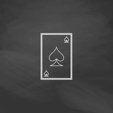 gamblers: Spades card Simple line vector button. Imitation draw with white chalk on blackboard. Flat Pictogram and School board background. Outine illustration icon