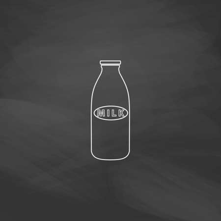 low cal: Milk bottle Simple line vector button. Imitation draw with white chalk on blackboard. Flat Pictogram and School board background. Outine illustration icon