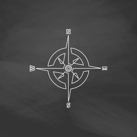 global positioning system: Compass Simple line vector button. Imitation draw with white chalk on blackboard. Flat Pictogram and School board background. Outine illustration icon