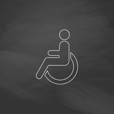 Disabled Simple line vector button. Imitation draw with white chalk on blackboard. Flat Pictogram and School board background. Outine illustration icon