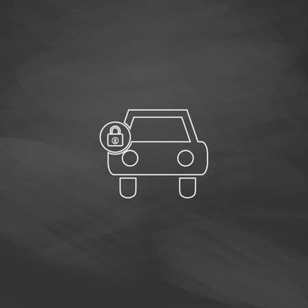 car lock: Car lock Simple line vector button. Imitation draw with white chalk on blackboard. Flat Pictogram and School board background. Outine illustration icon