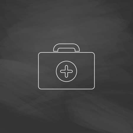 school kit: first aid kit Simple line vector button. Imitation draw with white chalk on blackboard. Flat Pictogram and School board background. Outine illustration icon