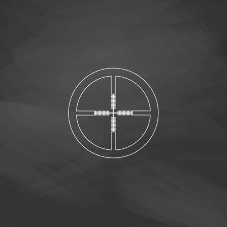 Crosshair Simple line vector button. Imitation draw with white chalk on blackboard. Flat Pictogram and School board background. Outine illustration icon