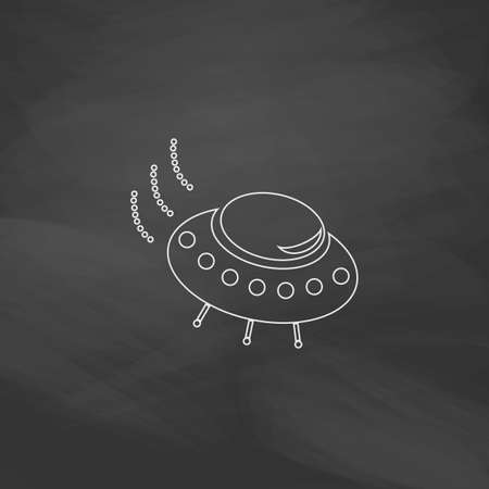 UFO Simple line vector button. Imitation draw with white chalk on blackboard. Flat Pictogram and School board background. Outine illustration icon