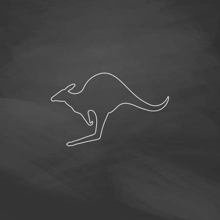 sac: Kangaroo Simple line vector button. Imitation draw with white chalk on blackboard. Flat Pictogram and School board background. Outine illustration icon