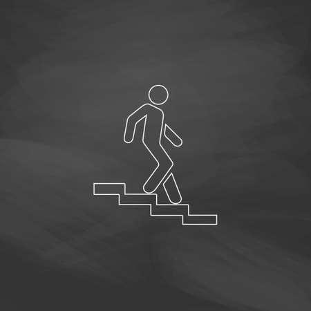 bajando escaleras: Abajo botón de línea simple del vector escalera. Imitación dibujar con tiza en la pizarra. Pictograma plano y fondo de la tarjeta de la escuela. Outine icono de la ilustración