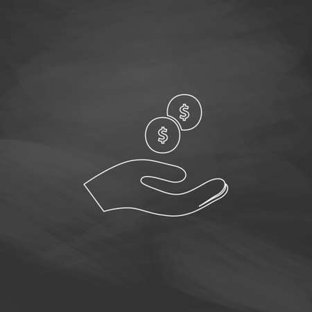 beggar Simple line vector button. Imitation draw with white chalk on blackboard. Flat Pictogram and School board background. Outine illustration icon Illustration