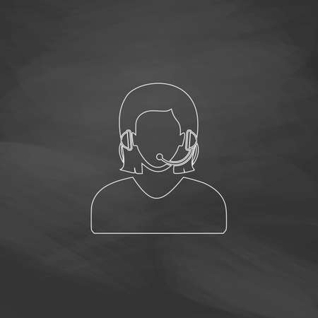 switchboard operator: telephonist Simple line vector button. Imitation draw with white chalk on blackboard. Flat Pictogram and School board background. Outine illustration icon