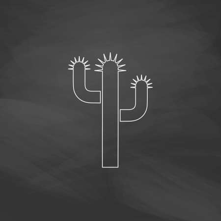 thorn bush: Cactus Simple line vector button. Imitation draw with white chalk on blackboard. Flat Pictogram and School board background. Outine illustration icon Illustration