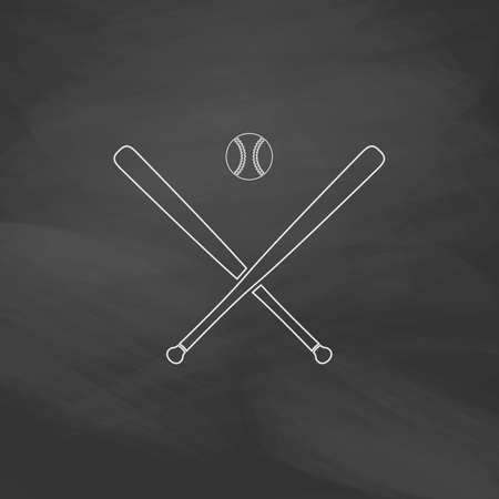 major league: baseball Simple line vector button. Imitation draw with white chalk on blackboard. Flat Pictogram and School board background. Outine illustration icon
