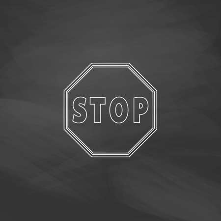 slow down: Vector Stop Sign Icon Simple line vector button. Imitation draw with white chalk on blackboard. Flat Pictogram and School board background. Outine illustration icon
