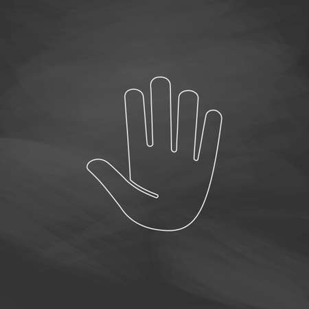 stop hand: Stop hand Simple line vector button. Imitation draw with white chalk on blackboard. Flat Pictogram and School board background. Outine illustration icon Illustration
