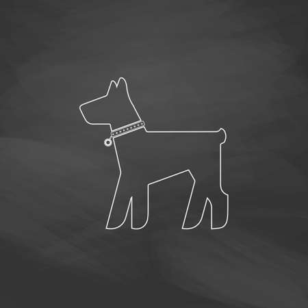 Dog Simple line vector button. Imitation draw with white chalk on blackboard. Flat Pictogram and School board background. Outine illustration icon