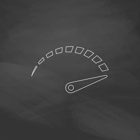 mileage: indicator Simple line vector button. Imitation draw with white chalk on blackboard. Flat Pictogram and School board background. Outine illustration icon Illustration