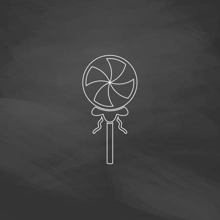 Candy Simple line vector button. Imitation draw with white chalk on blackboard. Flat Pictogram and School board background. Outine illustration icon Illustration