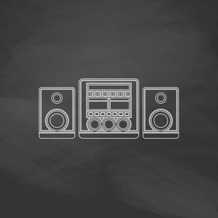 large group of objects: Sound System Simple line vector button. Imitation draw with white chalk on blackboard. Flat Pictogram and School board background. Outine illustration icon Illustration