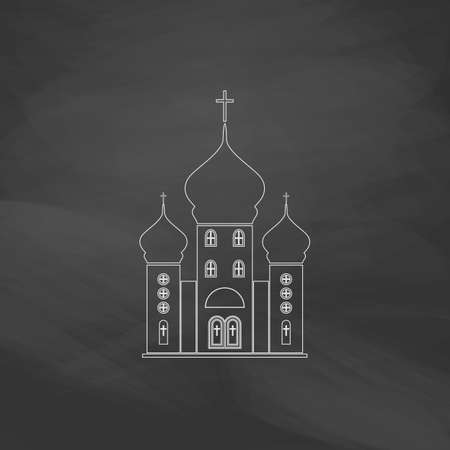 doctrine: Church Simple line vector button. Imitation draw with white chalk on blackboard. Flat Pictogram and School board background. Outine illustration icon Illustration