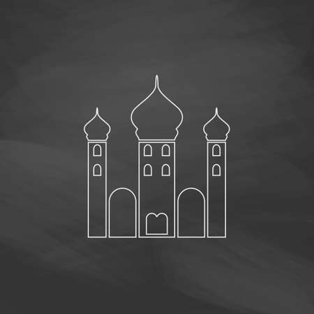 cupola: Mosque Simple line vector button. Imitation draw with white chalk on blackboard. Flat Pictogram and School board background. Outine illustration icon Illustration