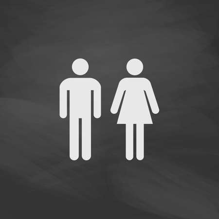 man and woman Simple vector button. Imitation draw icon with white chalk on blackboard. Flat Pictogram and School board background. Illustration symbol