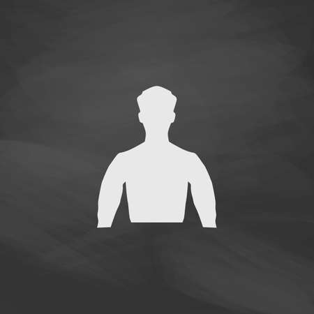 unknown: Unknown male Simple vector button. Imitation draw icon with white chalk on blackboard. Flat Pictogram and School board background. Illustration symbol