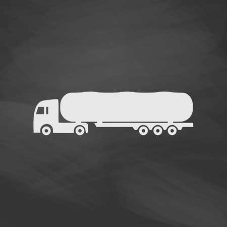 fuel truck: Fuel Truck Simple vector button. Imitation draw icon with white chalk on blackboard. Flat Pictogram and School board background. Illustration symbol