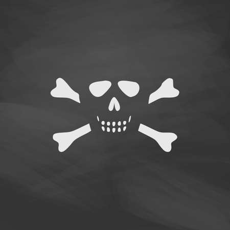 skull and crossbones: Skull crossbones Simple vector button. Imitation draw icon with white chalk on blackboard. Flat Pictogram and School board background. Illustration symbol
