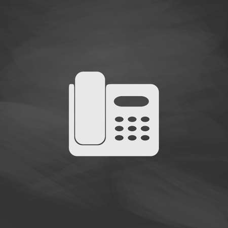 parley: Office Phone Simple vector button. Imitation draw icon with white chalk on blackboard. Flat Pictogram and School board background. Illustration symbol Illustration