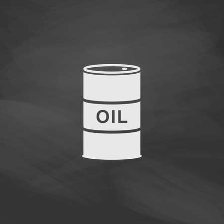 shareholding: Oil barrels Simple vector button. Imitation draw icon with white chalk on blackboard. Flat Pictogram and School board background. Illustration symbol Illustration