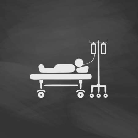 hospitalized: hospitalized Simple vector button. Imitation draw icon with white chalk on blackboard. Flat Pictogram and School board background. Illustration symbol Illustration