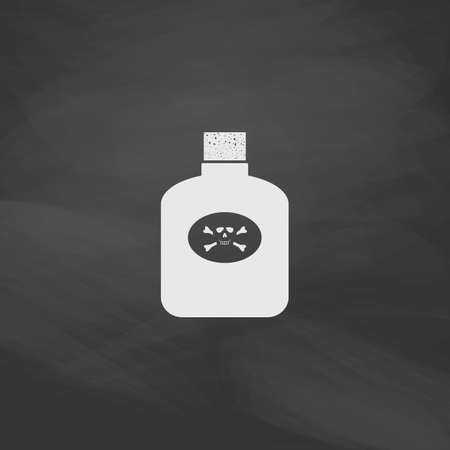 poison symbol: Poison Simple vector button. Imitation draw icon with white chalk on blackboard. Flat Pictogram and School board background. Illustration symbol