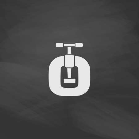 vice grip: Vice Simple vector button. Imitation draw icon with white chalk on blackboard. Flat Pictogram and School board background. Illustration symbol Illustration