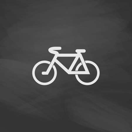 active content: Mountain bike Simple vector button. Imitation draw icon with white chalk on blackboard. Flat Pictogram and School board background. Illustration symbol Illustration