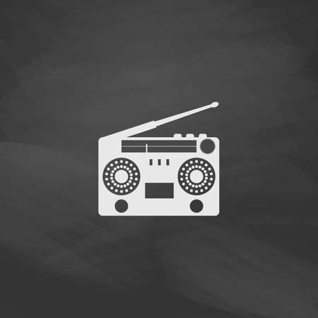 boombox: boombox Simple vector button. Imitation draw icon with white chalk on blackboard. Flat Pictogram and School board background. Illustration symbol