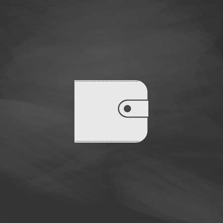 billfold: Wallet Simple vector button. Imitation draw icon with white chalk on blackboard. Flat Pictogram and School board background. Illustration symbol