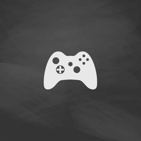 portable console: Gamepad Simple vector button. Imitation draw icon with white chalk on blackboard. Flat Pictogram and School board background. Illustration symbol