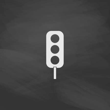 clipart street light: Traffic light Simple vector button. Imitation draw icon with white chalk on blackboard. Flat Pictogram and School board background. Illustration symbol Illustration