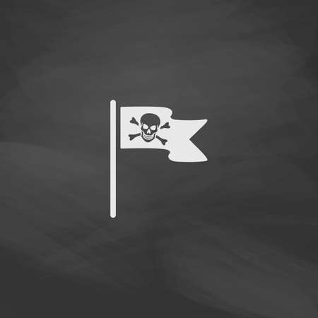 mercenary: Jolly Roger Simple vector button. Imitation draw icon with white chalk on blackboard. Flat Pictogram and School board background. Illustration symbol Illustration